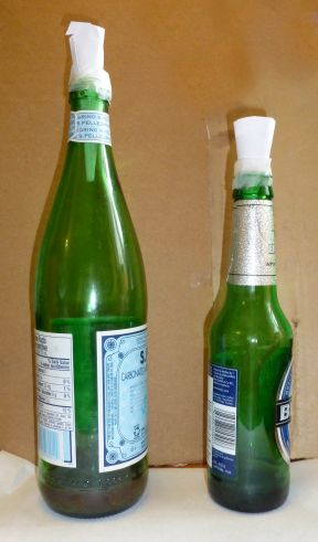 Two Fruit Fly traps made from beverage bottles.